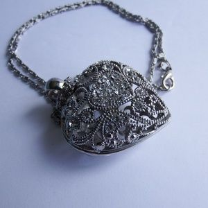 """Stainless Steel Filigree Puff Heart Necklace 24"""""""